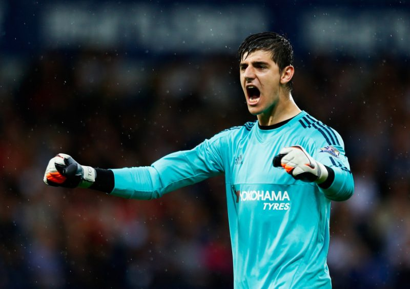 WEST BROMWICH, ENGLAND - AUGUST 23:  Thibaut Courtois of Chelsea celebrates the opening goal scored by Pedro of Chelsea during the Barclays Premier League match between West Bromwich Albion and Chelsea at The Hawthorns on August 23, 2015 in West Bromwich, England.  (Photo by Julian Finney/Getty Images)