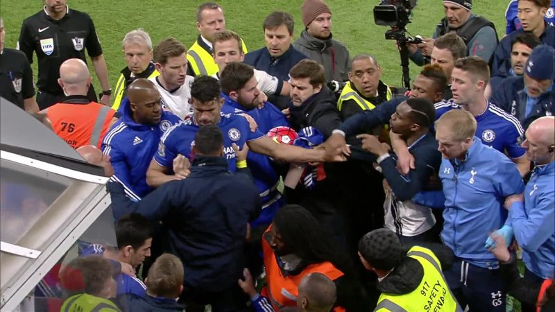 Players were separated by officials in a high-tempered game