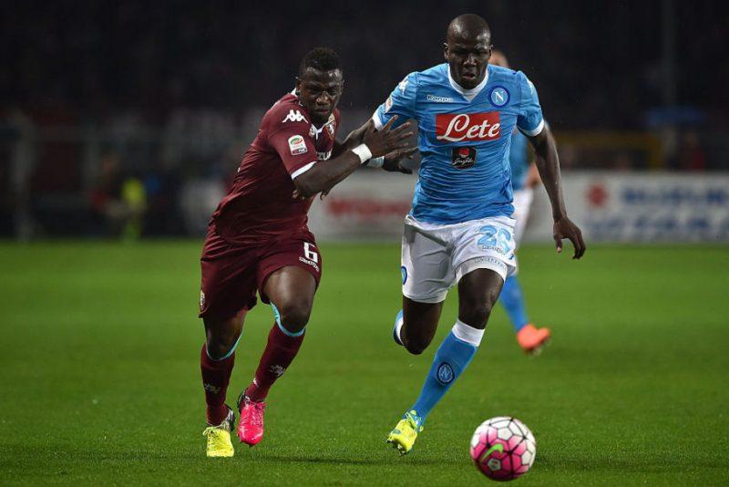Afriyie Acquah of Torino competes with Kalidou Koulibaly.