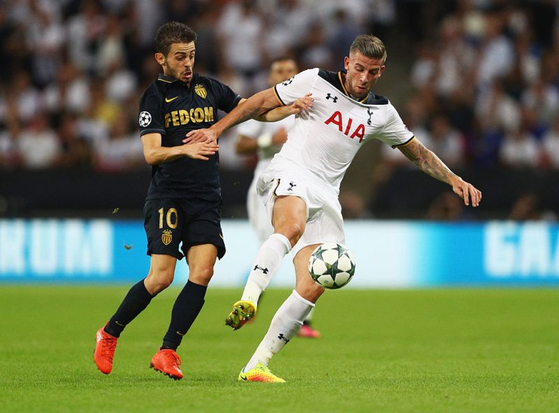 LONDON, ENGLAND - SEPTEMBER 14:  Bernardo Silva of Monaco and Toby Alderweireld of Tottenham Hotspur in action during the UEFA Champions League match between Tottenham Hotspur FC and AS Monaco FC at Wembley Stadium on September 14, 2016 in London, England.  (Photo by Paul Gilham/Getty Images)