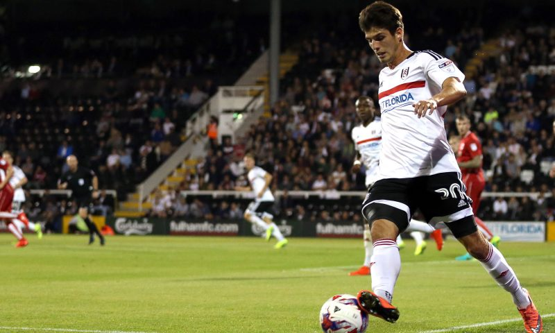 Lucas Piazon keeps the ball in play during the 3rd Round EFL Cup match between Fulham and Bristol City played at Craven Cottage, London on 21st September 2016 -------------------- Andrew Fosker / BPI Football - EFL Cup 2016/17 Third Round Fulham v Bristol City Craven Cottage, Stevenage Rd, London, United Kingdom 21 September 2016 ©2016 Andrew Fosker / BPI all rights reserved