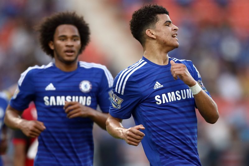 BANGKOK, THAILAND - MAY 30:  Dominic Solanke (R) of Chelsea reacts after scoring against Thailand All-Stars during the international friendly match between Thailand All-Stars and Chelsea FC at Rajamangala Stadium on May 30, 2015 in Bangkok, Thailand.  (Photo by Stanley Chou/Getty Images)