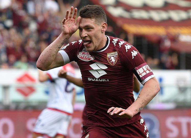 Andrea Belotti scores in the Serie A and celebrates