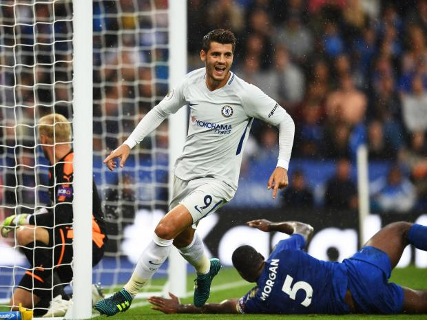 Morata celebrates after scoring against Leicester City in the Premier League