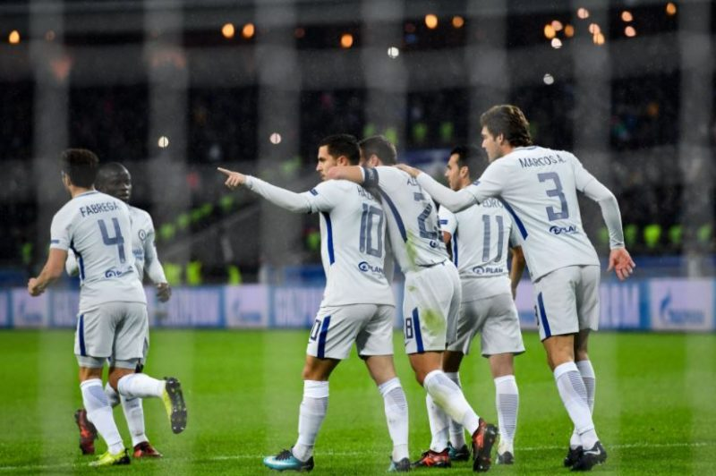 Chelsea players celebrate a goal against Qarabag