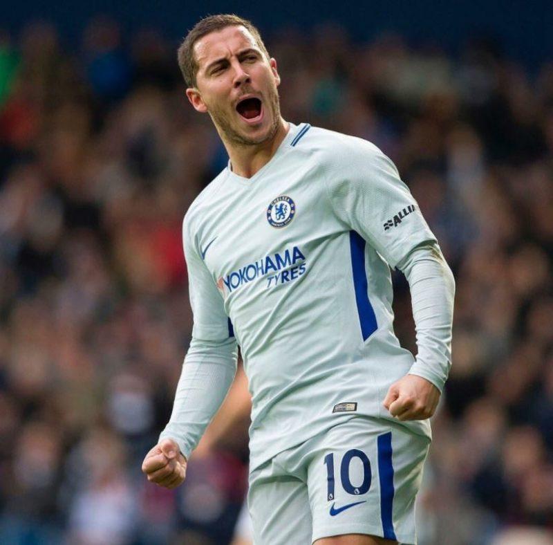 Eden Hazard celebrating his goal.
