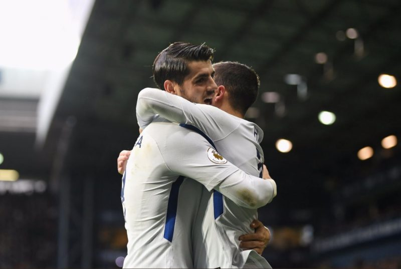 Chelsea's new two front men celebrate after scoring against West Brom