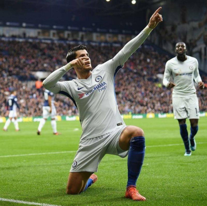 Alvaro Morata celebrating his goal.