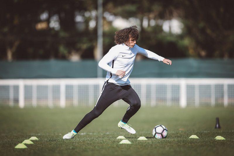 David Luiz trains at Chelsea's grounds in Cobham