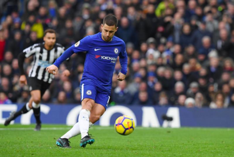 Eden Hazard takes Chelsea 3-1 up with a lovely panenka penalty.