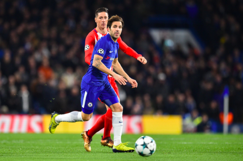 Cesc Fabregas on the ball for Chelsea against Atletico Madrid.
