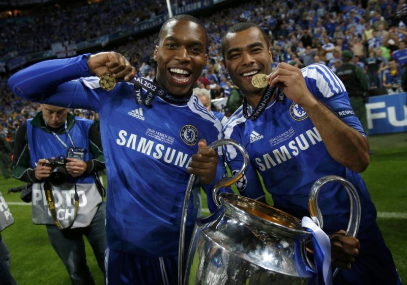 Daniel Sturridge and Ashley Cole celebrating Chelsea's Champions League triumph in 2012.