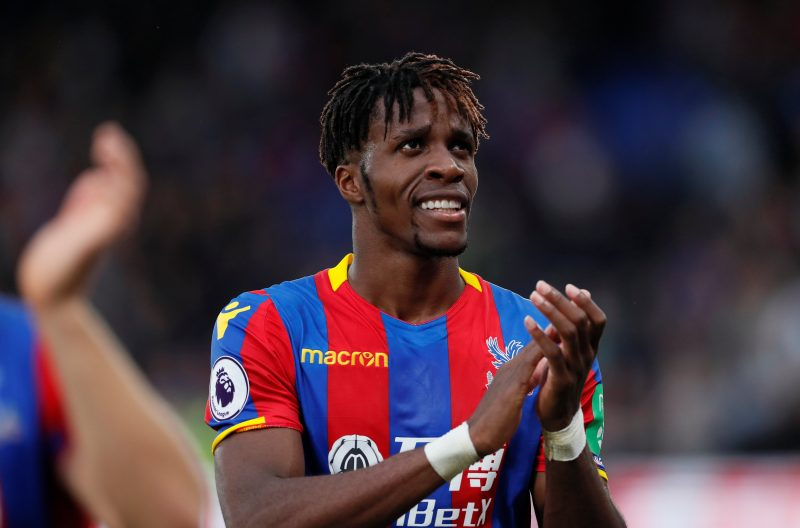 """Soccer Football - Premier League - Crystal Palace vs Chelsea - Selhurst Park, London, Britain - October 14, 2017   Crystal Palace's Wilfried Zaha applauds fans after the match     REUTERS/David Klein    EDITORIAL USE ONLY. No use with unauthorized audio, video, data, fixture lists, club/league logos or """"live"""" services. Online in-match use limited to 75 images, no video emulation. No use in betting, games or single club/league/player publications. Please contact your account representative for further details."""