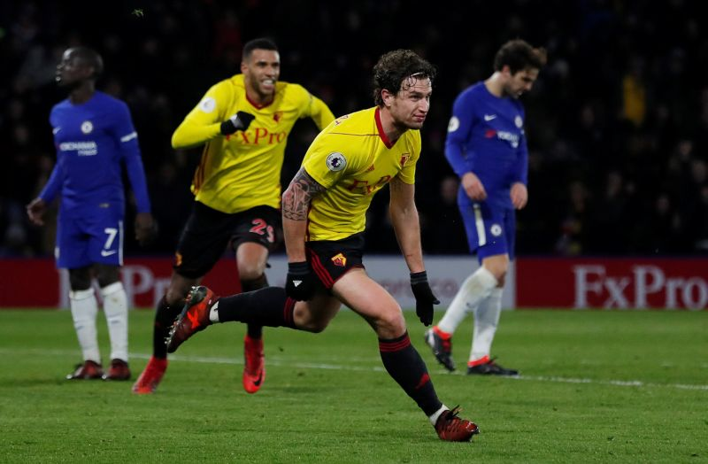 """Soccer Football - Premier League - Watford vs Chelsea - Vicarage Road, Watford, Britain - February 5, 2018   Watford's Daryl Janmaat celebrates scoring their second goal                    Action Images via Reuters/Andrew Couldridge    EDITORIAL USE ONLY. No use with unauthorized audio, video, data, fixture lists, club/league logos or """"live"""" services. Online in-match use limited to 75 images, no video emulation. No use in betting, games or single club/league/player publications.  Please contact your account representative for further details."""