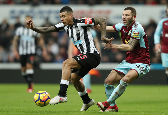 "Soccer Football - Premier League - Newcastle United vs Burnley - St James' Park, Newcastle, Britain - January 31, 2018   Newcastle United's Kenedy in action with Burnley's Phil Bardsley    REUTERS/Scott Heppell    EDITORIAL USE ONLY. No use with unauthorized audio, video, data, fixture lists, club/league logos or ""live"" services. Online in-match use limited to 75 images, no video emulation. No use in betting, games or single club/league/player publications.  Please contact your account representative for further details."
