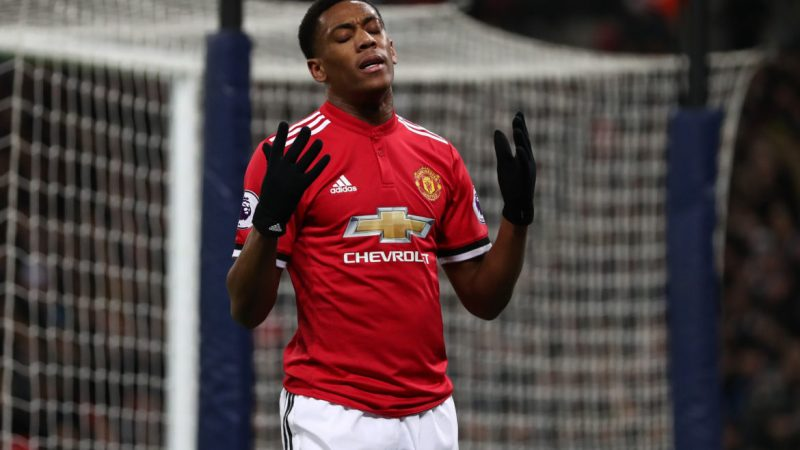 LONDON, ENGLAND - JANUARY 31: Anthony Martial of Manchester United reacts after missing a chance during the Premier League match between Tottenham Hotspur and Manchester United at Wembley Stadium on January 31, 2018 in London, England. (Photo by Catherine Ivill/Getty Images)