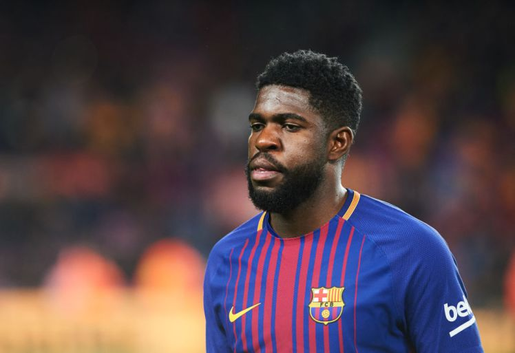 Samuel Umtiti of FC Barcelona during the spanish Copa del Rey semi-final, first leg match between FC Barcelona and Valencia, at Camp Nou Stadium, on February 1, 2018 in Barcelona, Spain (Photo by Maria Jose Segovia/NurPhoto via Getty Images)