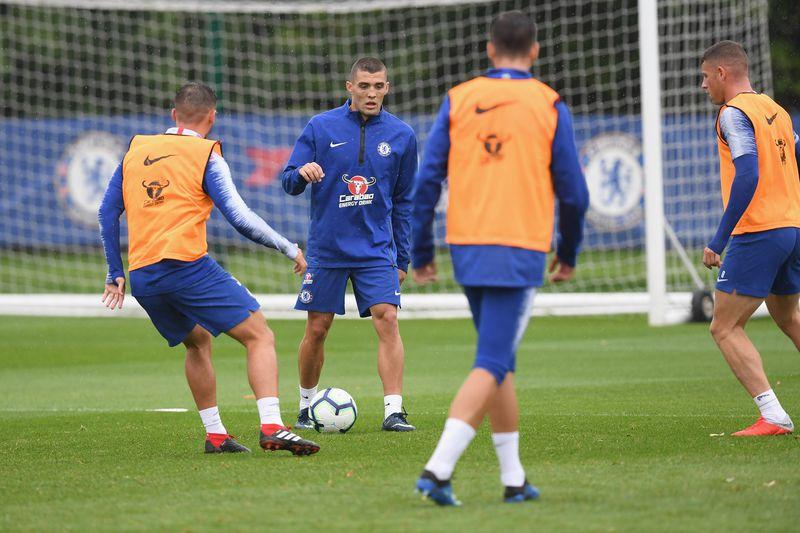 Mateo Kovacic in midfield drills with new Chelsea midfield teammates