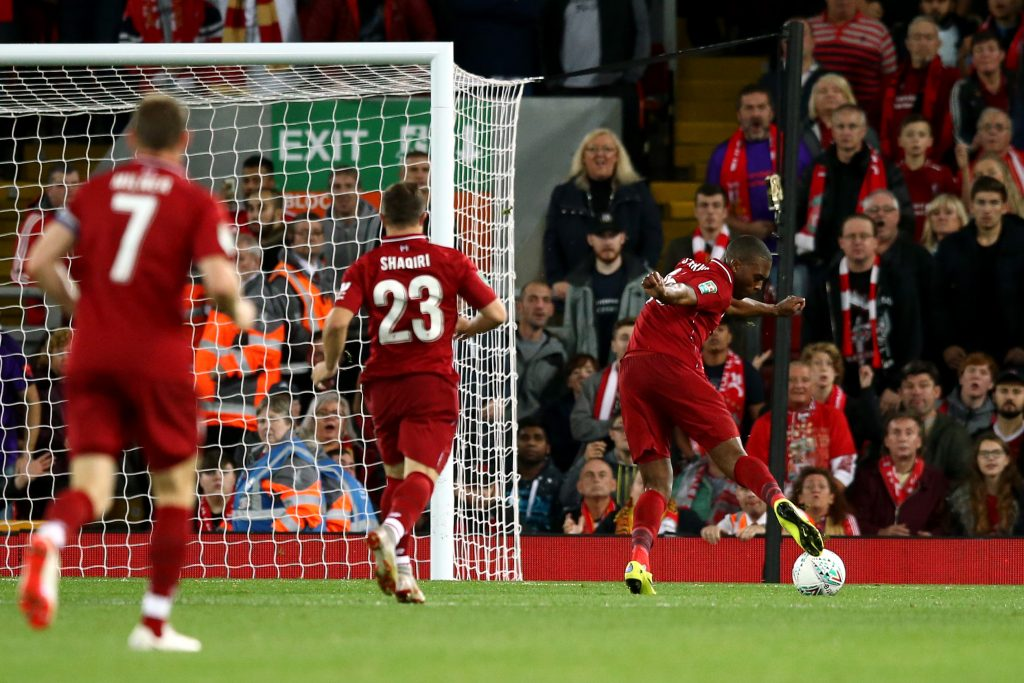 Daniel Sturridge missed the empty net before volleying Liverpool into the lead. (Photo: Getty)