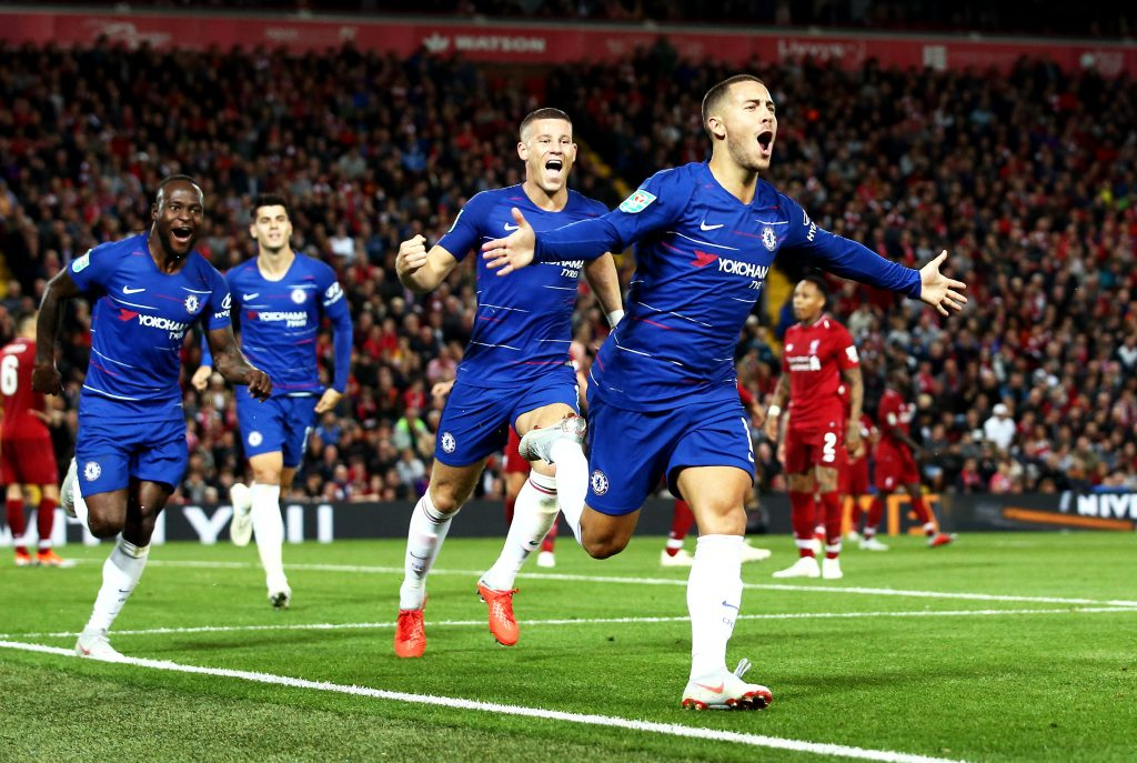Eden Hazard stunned Anfield with an unreal solo goal. (Photo: Getty)
