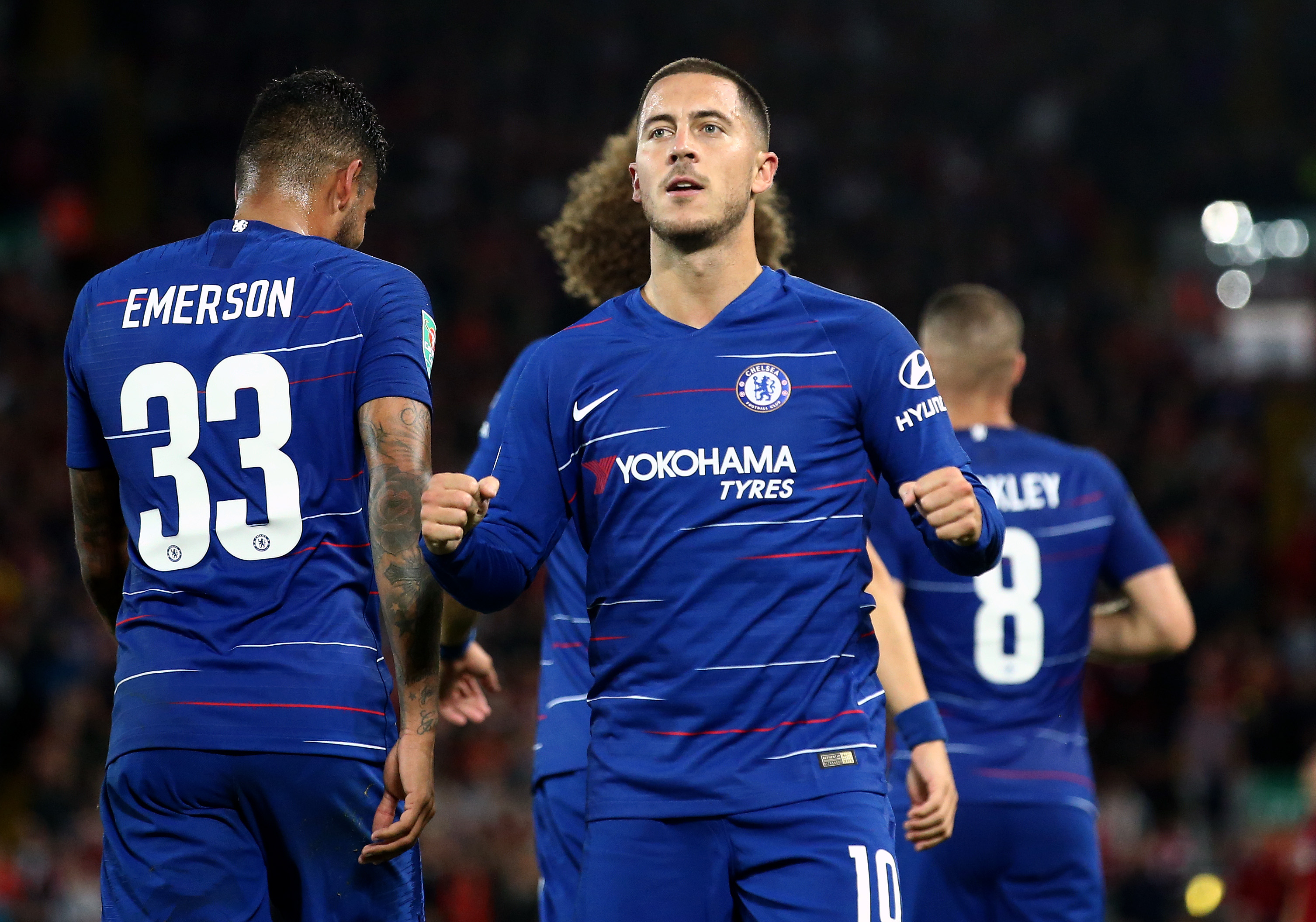 LIVERPOOL, ENGLAND - SEPTEMBER 26:  Eden Hazard of Chelsea celebrates after he scores his sides second goal during the Carabao Cup Third Round match between Liverpool and Chelsea at Anfield on September 26, 2018 in Liverpool, England.  (Photo by Jan Kruger/Getty Images)